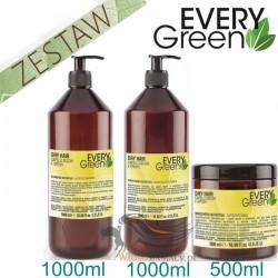 Every Green DRY HAIR Włosy Suche Matowe Pozbawione Objętości Zestaw Promocyjny Szampon 1000ml Odżywka 1000ml Maska 500ml