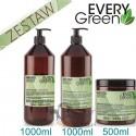 Every Green ANTI FRIZZ Włosy Puszące się Trudne Niesforne Zestaw Szampon 1000ml Odżywka 1000ml Maska 500ml