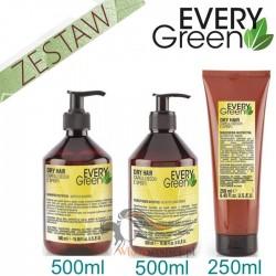 Every Green DRY HAIR Włosy Suche Matowe Pozbawione Objętości Zestaw Promocyjny Szampon 500ml Odżywka 500ml Maska 250ml