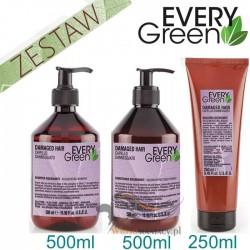 Every Green DAMAGED HAIR Odbudowa Zniszczonych Włosów Zestaw Promocyjny Szampon 500ml Odżywka 500ml Maska 250ml