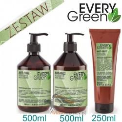 Every Green ANTI FRIZZ Włosy Puszące się Trudne Niesforne Zestaw Szampon 500ml Odżywka 500ml Maska 250ml